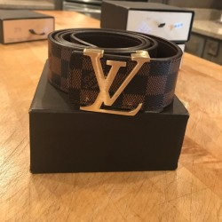 LV Belt Louis Vuitton Belt For Men Brown Check ( Free Size )