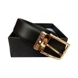 Mont Blanc Black Belt For Men Golden Buckle Belt ( Free Size )