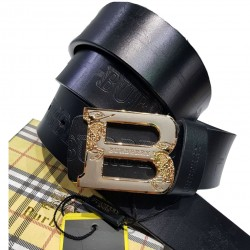 Burberry Belt For Men B Golden Buckle Belt ( Free Size )