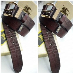 Burberry Belt Brown For Men B Golden Buckle Belt ( Free Size )