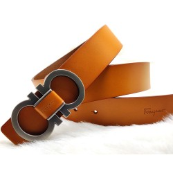 Salvatore Ferragamo Belt For Men Tan Color Party Belt ( Free Size )