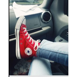 ALL STAR CONVERSE RED LONG SHOES RED