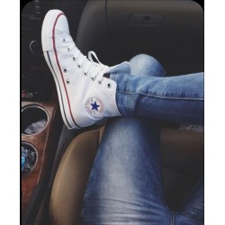 ALL STAR CONVERSE WHITE LONG SHOES WHITE